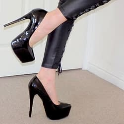 DAVE-SHINY 7INCH HIGH HEEL BLACK SHOES-2