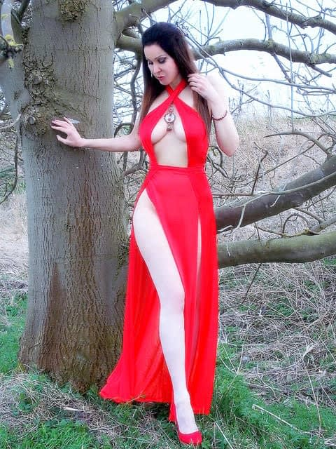 RED DRESS WITH SLIT-DAVE-2