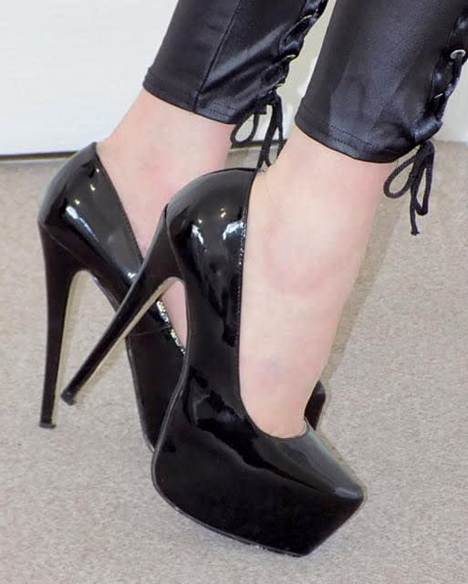 DAVE-SHINY 7INCH HIGH HEEL BLACK SHOES-1